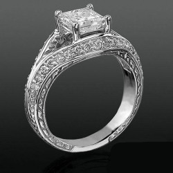 Diamond Paved Artistically Designed Split Shank Engagement Ring