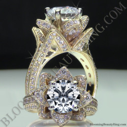 Yellow Gold Large Hand Engraved Blooming Beauty Flower Diamond Engagement Ring