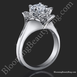 Lotus Ring 8 Petal .58 ct. Diamond Clean Split Shank Flower Ring<br>$2650
