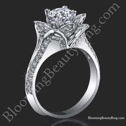 Lotus Ring 8 Petal 1.00 ct. Diamond Band Flower Ring<br>$2950