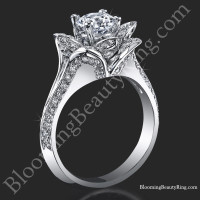 Lotus Ring 8 Petal 1.00 ct. Diamond Band Flower Ring<br>$2999
