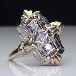 Antique 3-Stone Diamond 14k 2-Tone Gold Ring<br>$899
