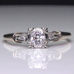 Vintage Antique Style 3-Stone Pre-Set Diamond 14k 2-Tone Gold Ring<br>$949