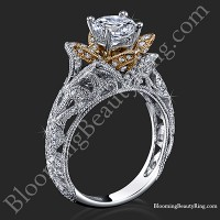 Art Carved Blooming Rose Flower Engagement Ring with Rose Gold Petals<br>$2899