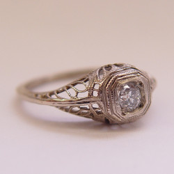 002fbbr | Pre-Set Antique Filigree Ring | 22ct. round diamond | Victorian Inspired