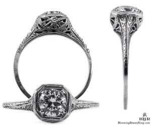 013bbr | Antique Filigree Ring | for a .42ct. to .52ct. round stone | Wheel-like Pattern