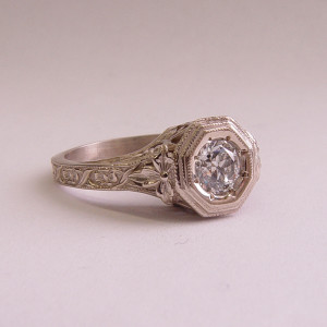 059fbbr | Pre-Set Antique Filigree Ring | .46ct. Round Diamond | Climbing Vines