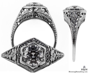 062bbr | Antique Filigree Ring | for a .75ct. to .85ct. round stone | Naturalistic