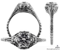 071bbr | Antique Filigree Ring | for a .75ct to .85ct round stone | Floral Design