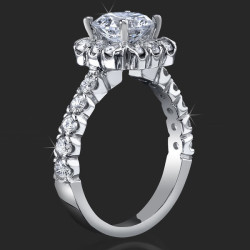 1.00 ctw. Halo and Channel Set Diamond Engagement Ring - bbr462e