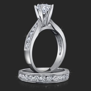 Jewelers Pride Pointed Cathedral Engagement Rings with Large Diamonds in the Mountings – bbr139