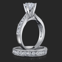 Jewelers Pride Pointed Cathedral Engagement Rings with Large Diamonds in the Mountings