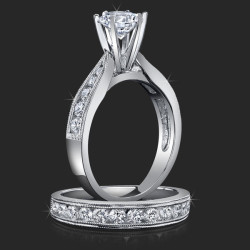1.00 ctw. Tapered Millegrain 6 Prong Tiffany Diamond Engagement Ring Set - bbr139
