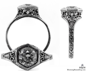 101bbr | Antique Filigree Ring | for a .90ct to 1.10ct round stone | Hexagonal Flowers