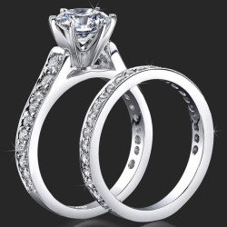 1.05 ctw. Round Pave Set 6 Prong Diamond Engagement Ring Set - bbr407a