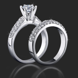 1.08 ctw. 3 Column Micro Pave 6 Prong Diamond Engagement Ring Set - bbr189e-189b