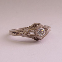 125fbbr | Pre-Set Antique Filigree Ring | .25ct. Round Diamond | Art Deco Design<br>$1404
