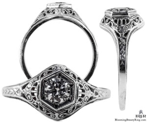 128bbr | Antique Filigree Ring | for a .30ct to .40ct round stone | Scrolls
