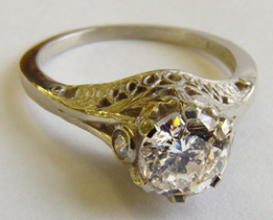 1.40 ct. 14K Gold Vintage Filigree Engagement Ring Solitaire