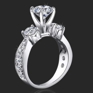 3 Stone Past Present Future Anniversary Ring with Various Diamond Sizes and Tapered Thickness Band – bbr443