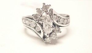 14K White Gold .98 ct. Pre-Set Marquise Diamond Ring