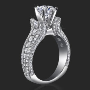 5 Sided 10 Column Engagement Ring Unlike Anything You Have Ever Seen with Hundreds Of Diamonds – bbr455