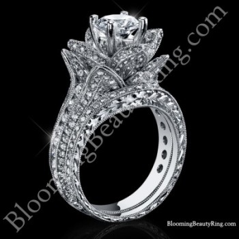 1.67 ctw. Small Hand Engraved Blooming Beauty Wedding Ring Set<br>$5500