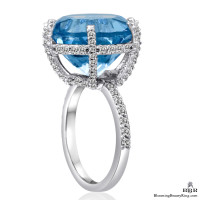 17.35 ctw. Blue Topaz and Diamond Ring - jtr180
