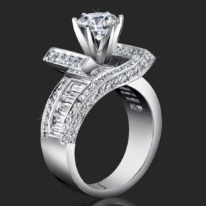 Double Crossover Ribbon Style Crystal Clear Baguette and Round Diamond Engagement Ring – bbr4549