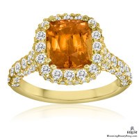 18k Yellow Gold 5.55 ctw. Mandarin Garnet Diamond Ring - jtr184