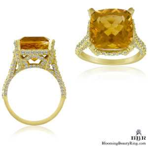 18k Yellow Gold Antique Cushion Faceted Rose Cut Madeira Topaz Ring – jtr176
