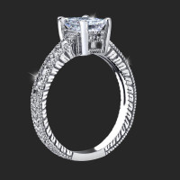 Pick Your Diamond Radiant Ring with Low Mounting and Custom Engraving