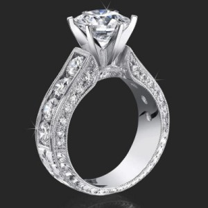 2.10 Carat Round Diamond Engraved Engagement Ring with Huge Quarter Carat Channel Set Diamonds – bbr389