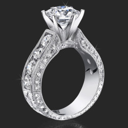 2.00 ctw. Round Diamond Millegrain Engraved 6 Prong Diamond Engagement Ring - bbr389