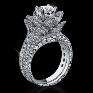 2.08 ctw. Large Hand Engraved Blooming Beauty Wedding Ring Set – bbr434en-set