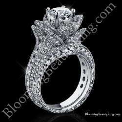 2.08 ctw. Large Hand Engraved Blooming Beauty Wedding Ring Set