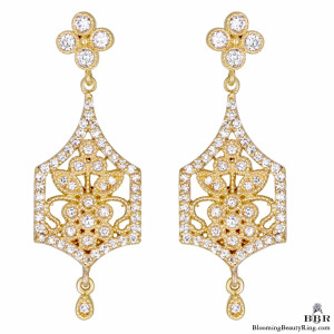 20K Rose Gold Flower Motif Diamond Earrings – jte397