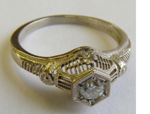 .25 ct. 14K White Vintage Filigree Engagement Ring Solitaire