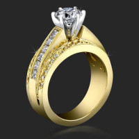 3 Band Round Pave and Channel Set Princess Diamond Engagement Ring