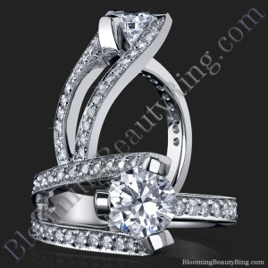 3 Sided Tension Set Split Shank Pave Diamond Engagement Ring – bbr274