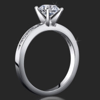 Petite 4 Prong Round Setting Channel Set Princess Cut Diamonds
