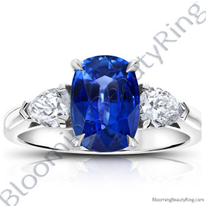 3.93 ctw. Cushion Blue Sapphire Ring with Pear Side Diamonds – rcc20668