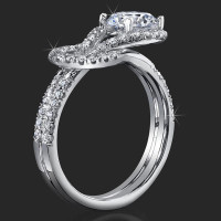 Two Interlaced Split Loop Diamond Engagement Ring