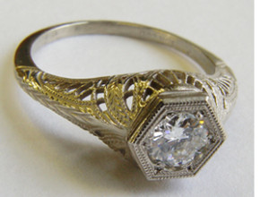 .48 ct. 14K Gold Vintage Filigree Engagement Ring Solitaire