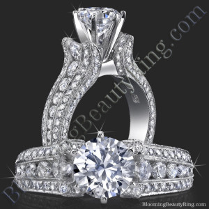 5 Sided 10 Column Engagement Ring – Unlike Anything You Have Ever Seen – with Hundreds Of Diamonds – bbr455