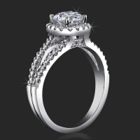 Art-Nouveau 4 Prong Split Shank Halo Engagement Ring Setting with Four Pave Peekaboo Diamonds
