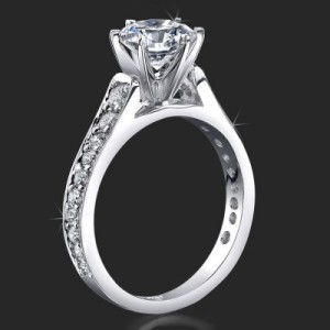 Reverse Tapered Gold Engagement Ring with Pave Set Diamonds and Medium Profile – bbr407a