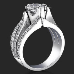 .58 ctw. Double Split Shank Micro Pave Diamond Engagement Ring - bbr239