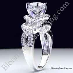 6 Prong Beautiful Crossover Pave Set Designer Engagement Ring Standing Up