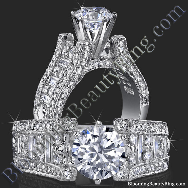 6 Prong Tiffany Style Engagement Ring with Alternating Round and Baguette Diamonds